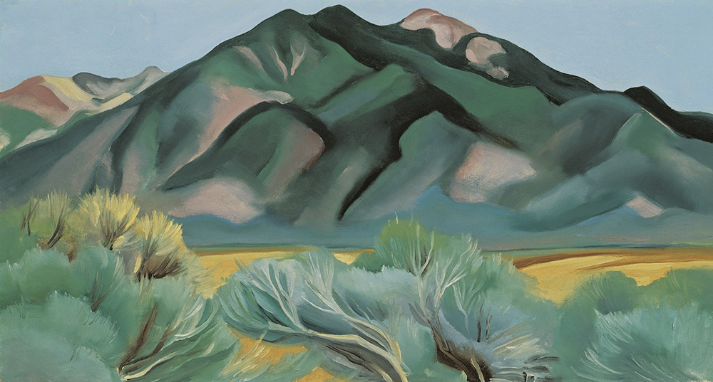 "Lindsay Essay | Georgia O'Keeffe's New Mexico | Georgia O'Keeffe, ""Taos Mountain, New Mexico,"" 1930. Image via Hood Museum of Art."