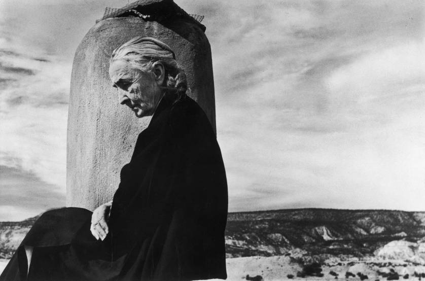 Lindsay Essay | Georgia O'Keeffe on the roof of her Ghost Ranch home in New Mexico, 1967 | Photo by John Loengard.