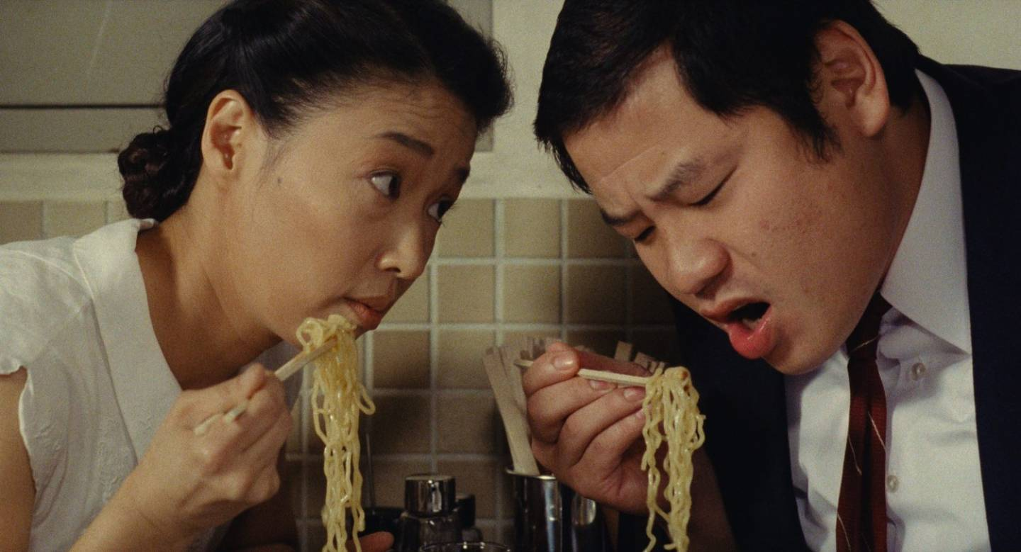 "Lindsay List | Six Signature Dishes from the World of Cinema | Nobuko Miyamoto as Tampopo and Kinzo Sakura as Shôhei in Juzo Itami's ""Tampopo,"" (1985)"