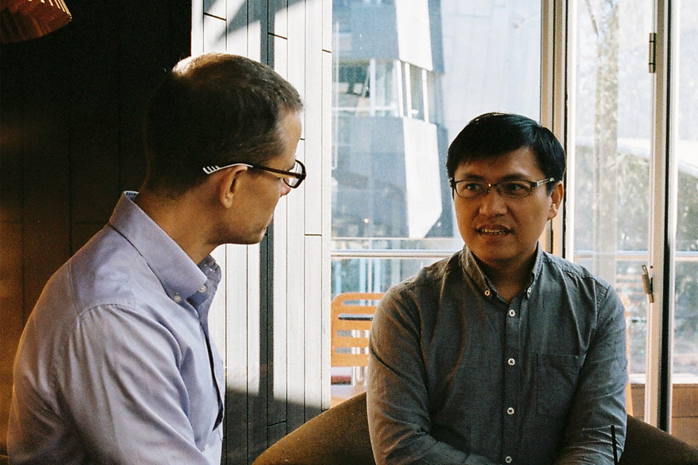 Lindsay Interview | The Art of Capturing Taiwan; the Craft of Translating It | Darryl Sterk (left) and Wu Ming-Yi (right), Photo by Beth Wilkinson for Lindsay