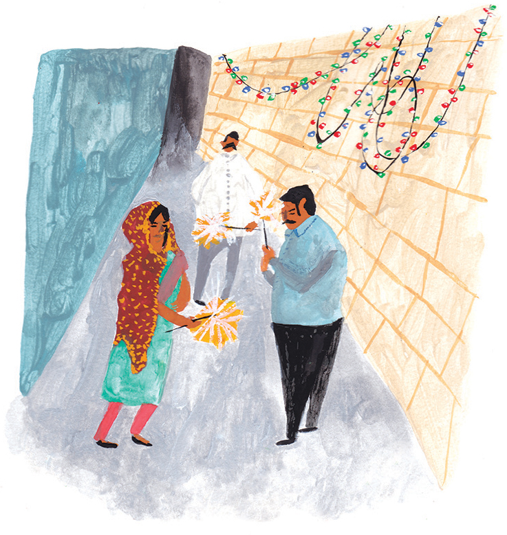 Lindsay | The Light and Dark of Diwali | Artwork by Liz Rowland for Lindsay